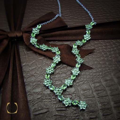 گردنبند نقره با سنگ زبرجد اصل و خوش رنگ (3)