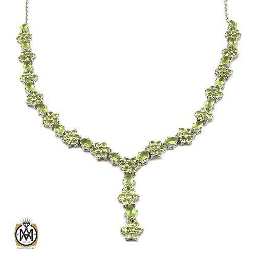 گردنبند نقره با سنگ زبرجد اصل و خوش رنگ (4)