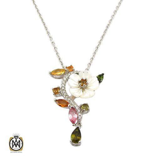 گردنبند نقره زنانه با سنگ های قیمتی متنوع (2)