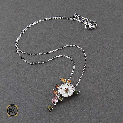 گردنبند نقره زنانه با سنگ های قیمتی متنوع (3)