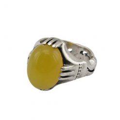 انگشتر نگین شرف الشمس عقیق زرد مردانه با کیفیت