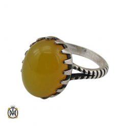 انگشتر نگین شرف الشمس عقیق زرد مردانه اصل و معدنی
