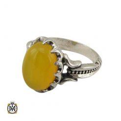 انگشتر عقیق شرف الشمس نقره مردانه اصل و معدنی