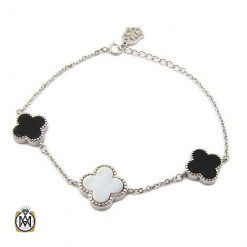 دستبند ون کلیف نقره زنانه با سنگ عقیق و صدف (2)
