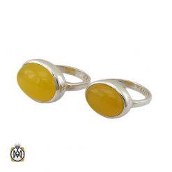 انگشتر ست عقیق شرف الشمس زرد زنانه و مردانه