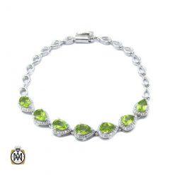 دستبند زبرجد زنانه اشکی طرح گلبرگ