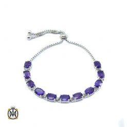 دستبند آمتیست زنانه اصل و خوش رنگ طرح آیدا